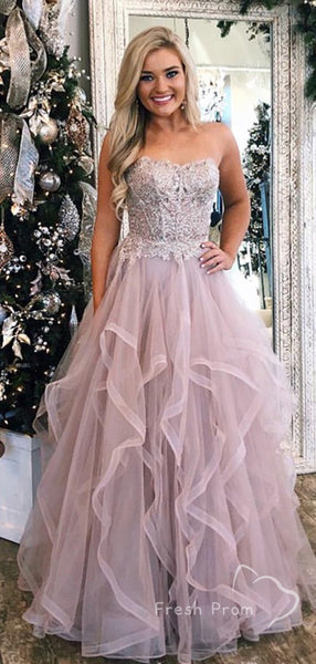 Charming A-Line Sweetheart Tulle Floor Length Prom Dresses With Lace,FPPD444