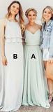 A-Line Spaghetti Straps Sleeveless Chiffon Cheap Long Bridesmaid Dresses,FPWG127