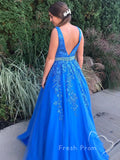Elegant A-Line V-Neck Sleeveless Lace Tulle Long Prom Dresses With Beading,FPPD445