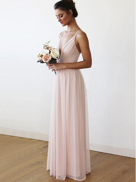Simple A-Line Deep V-Neck Spaghetti Straps Cross Back Chiffon Long Bridesmaid Dresses,FPWG142