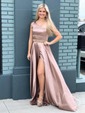 Simple A-Line One Shoulder Split Side Long Prom Dresses With Beading,FPPD448