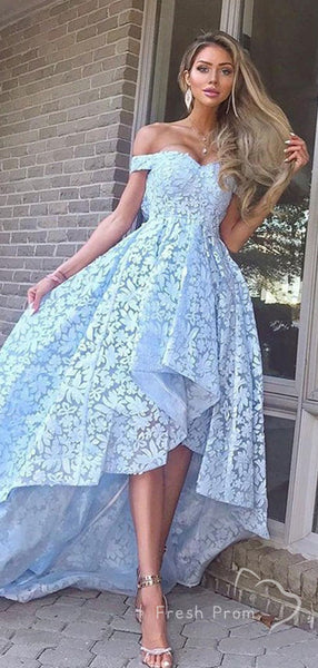 A-Line Off The Shoulder Lace High Low Cheap Long Prom Dresses,FPPD449