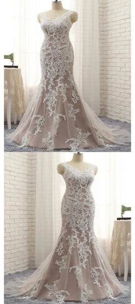 New Arrival Mermaid Appliqued Sleeveless V-Neck Floor Length Prom Dresses,FPPD045