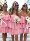 Charming Spaghetti Straps Sleeveless Cheap Pink Short Bridesmaid Dresses,FPWG149