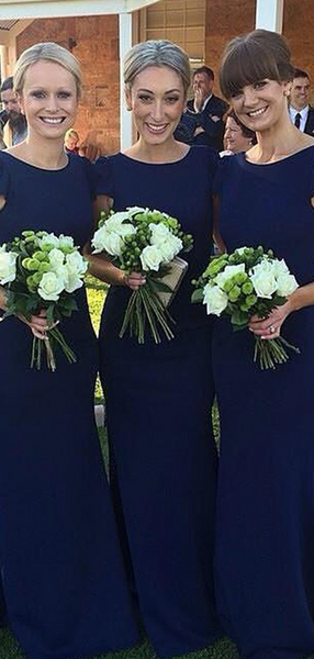 Mermaid Scoop Neckline Cap Sleeves Navy Blue Long Bridesmaid Dresses,FPWG151