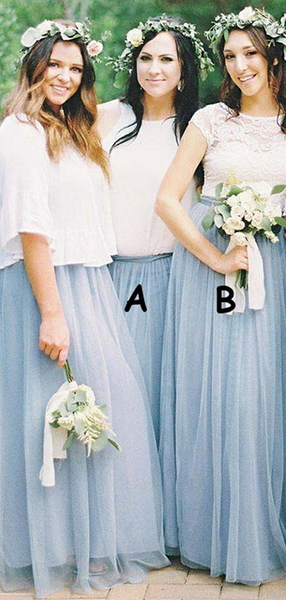 A-Line Round Neck Sleeveless Tulle Long Bridesmaid Dresses With Lace,FPWG145
