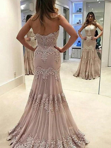 Sweetheart Sweep Train Tulle Appliqued Beaded Mermaid Prom Dresses,FPPD015