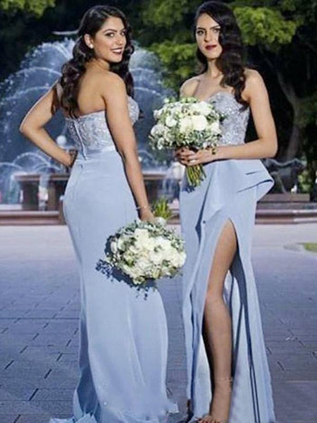 Beautiful Sheath Sweetheart Side Slit Long Bridesmaid Dresses With Lace,FPWG160