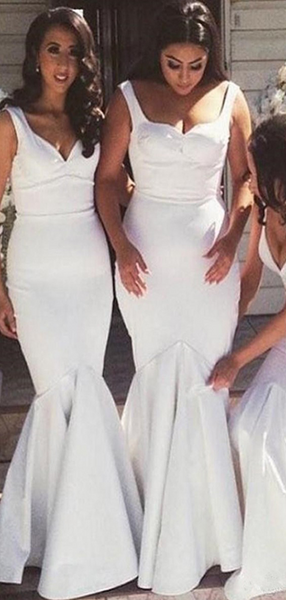 Mermaid Two Straps Sweetheart White Cheap Long Bridesmaid Dresses,FPWG161