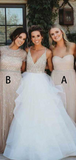 A-Line Sweetheart&Round Neck Short Sleeves Tulle Long Bridesmaid Dresses With Beading,FPWG158