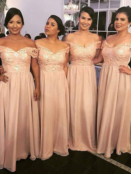 A-Line Off Shoulder Chiffon Long Bridesmaid Dresses With Appliques,FPWG164