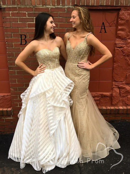 Mermaid V-Neck Spaghetti Straps Gold Lace Cheap Long Prom Dresses,FPPD479