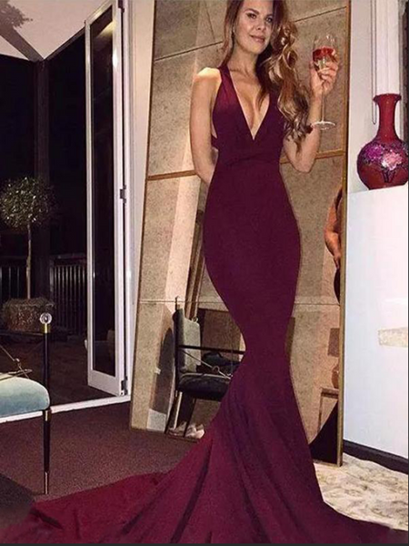 New Arrival Sexy Mermaid V-Neck Sleeveless Long Prom Dresses,FPPD047