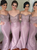 Alluring Sheath Off Shoulder Laced Long Bridesmaid Dresses With Beading,FPWG179