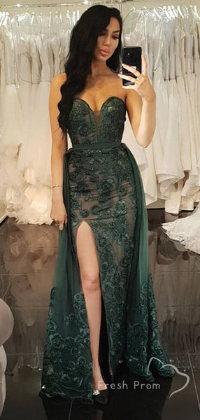 Mermaid Sweetheart Detachable Tulle Long Prom Dresses With Lace,FPPD481