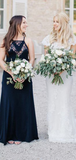 A-Line Halter Navy Blue Chiffon Long Bridesmaid Dresses With Lace,FPWG174