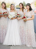 Elegant A-Line Round Neck Short Sleeves Long Bridesmaid Dresses With Lace,FPWG181