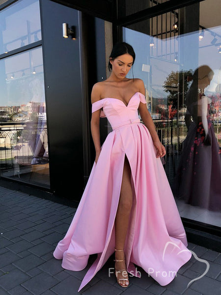 A-Line Off The Shoulder Split Side Pink Cheap Long Prom Dresses,FPPD485