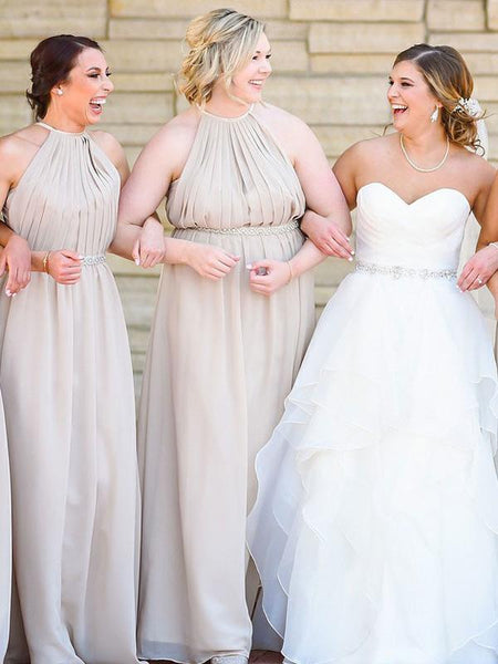 Simple A-Line Halter Grey Chiffon Long Bridesmaid Dresses With Beading,FPWG183