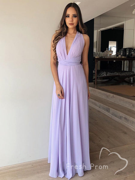 Simple A-Line V-Neck Sleeveless Chiffon Cheap Long Prom Dresses,FPPD488