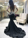 See Through Mermaid Round Neck Long Sleeves Black Long Prom Dresses With Lace,FPPD489