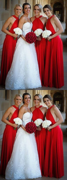 A-Line Halter Sleeveless Red Cheap Long Bridesmaid Dresses,FPWG184