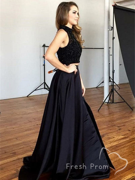A-Line High Neck Sleeveless Two Piece Black Long Prom Dresses With Lace,FPPD491