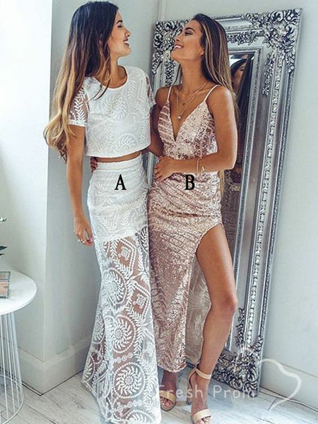 A-Line Round Neck Short Sleeves Two Piece Long Prom Dresses With Lace,FPPD492