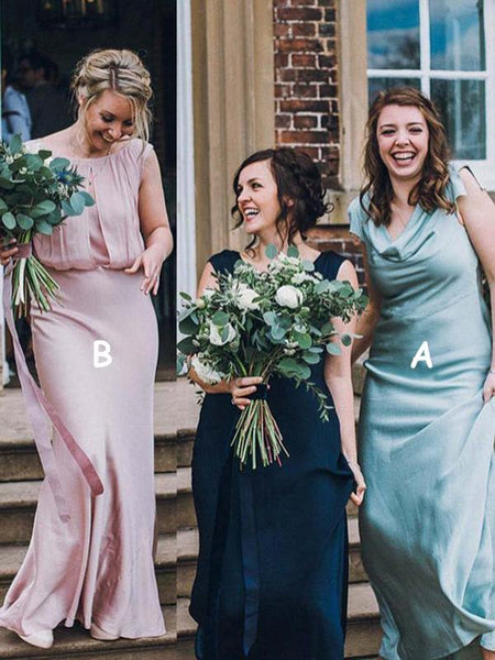 Simple A-Line Sleeveless Mismatched Floor Length Bridesmaid Dresses,FPWG192