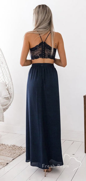 A-Line V-Neck Two Piece Spaghetti Straps Split Side Chiffon Long Prom Dresses With Lace,FPPD494