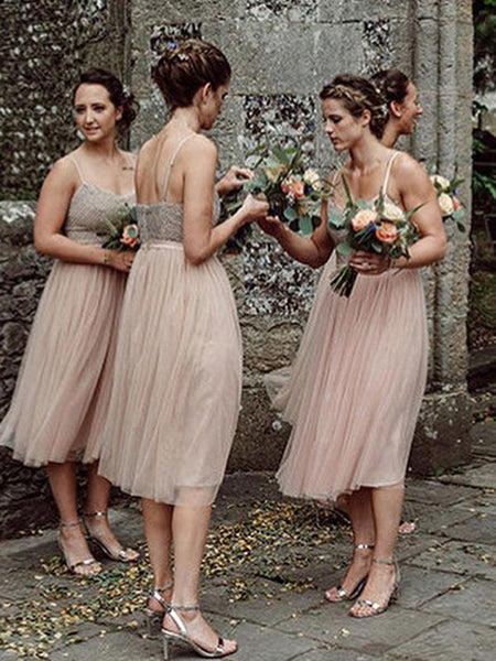 A-Line Spaghetti Straps Knee Length Tulle Bridesmaid Dresses,FPWG185