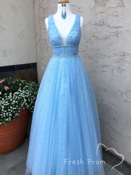 A-Line V-Neck Sleeveless Tulle Cheap Floor Length Prom Dresses With Beading,FPPD495