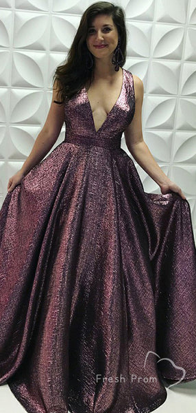 New Arrival A-Line Deep V-Neck Sleeveless Cheap Long Prom Dresses Online,FPPD496