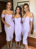 Mermaid Sweetheart Off Shoulder Lavender Long Bridesmaid Dresses,FPWG189