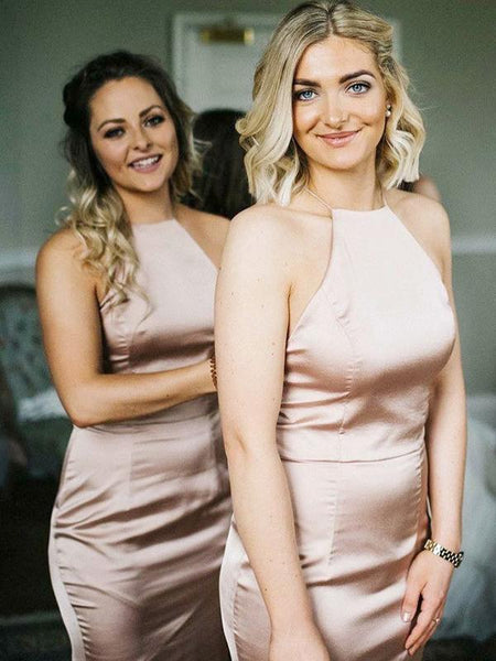 Pretty Sheath Halter Sleeveless Cheap Long Bridesmaid Dresses With Open Back,FPWG191