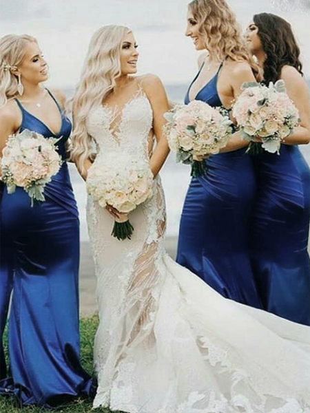 Mermaid Spaghetti Straps Blue Satin Long Bridesmaid Dresses,FPWG005