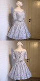 A-Line Grey Off Shoulder Homecoming Dresses,Juniors Graduation Homecoming Dresses,Unique Homecoming Dresses,FPBD017
