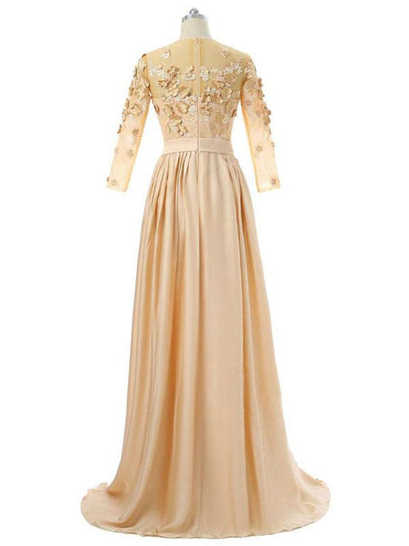 A-Line Scoop Neckline Long Sleeves Chiffon Appliqued Prom Dresses,FPPD077