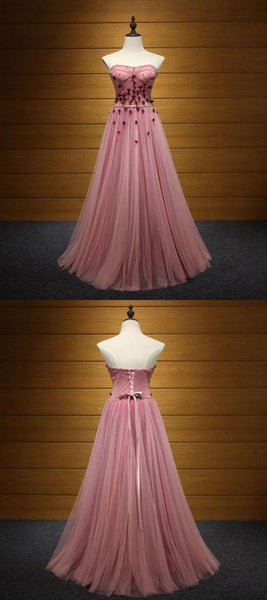 A-Line Sweetheart Appliqued Tulle Long Prom Dresses,FPPD085
