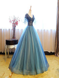 A-Line Round Neck Short Sleeves Ball Gown Organza Long Prom Dresses,FPPD075