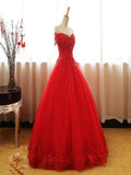 A-Line Red Ball Gown Tulle Off Shoulder Long Prom Dresses,FPPD073