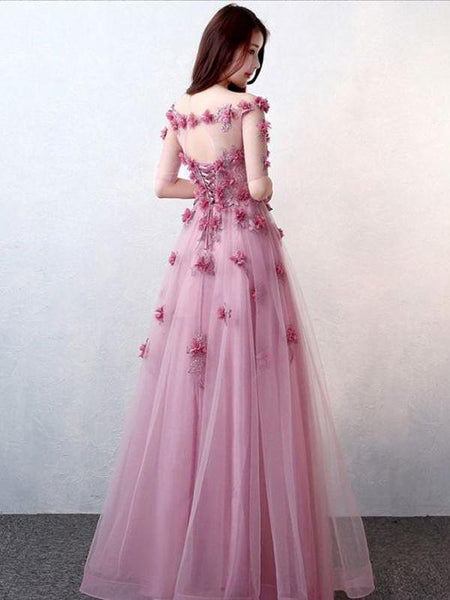 A-Line V-Neck Pink Appliqued Tulle Long Prom Dresses With Open Back,FPPD092