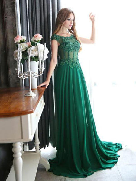 A-Line Scoop Neckline Cap Sleeves Green Chiffon Prom Dresses,FPPD076