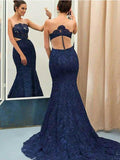 Sexy Mermaid Navy Blue Lace See Through Cheap Prom Dresses,FPPD034
