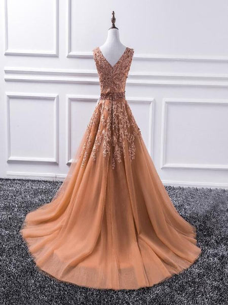 A-Line V-Neck Sleeveless Appliqued Burnt Orange Tulle Floor Length Prom Dresses,FPPD094