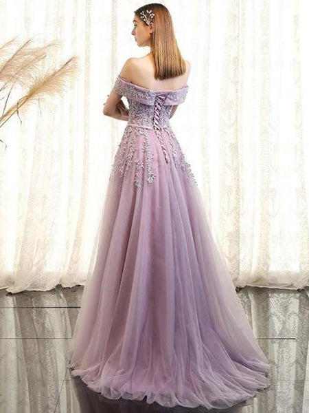 A-Line Off Shoulder Tulle Long Prom Dresses With Appliques,FPPD072