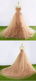 A-Line Sweetheart Sleeveless Appliqued Tulle Floor Length Prom Dresses,FPPD089