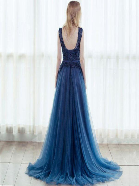 A-Line Scoop Neckline Two Straps Tulle Long Prom Dresses With Appliques,FPPD079