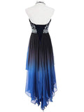 2019 Halter Beaded High Low Chiffon Prom Dresses With Sleeveless,FPPD062