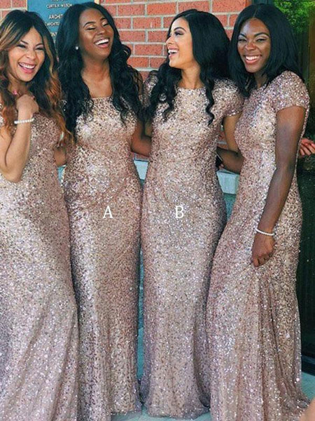 Charming Round Neck Short Sleeves Sheath Sequined Long Bridesmaid Dresses,FPWG218